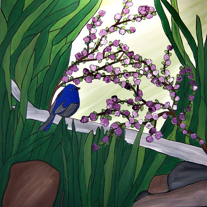 Little blue bird - Her painted canvas