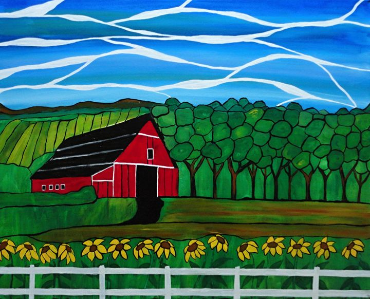 Red Barn Mosaic - Her painted canvas