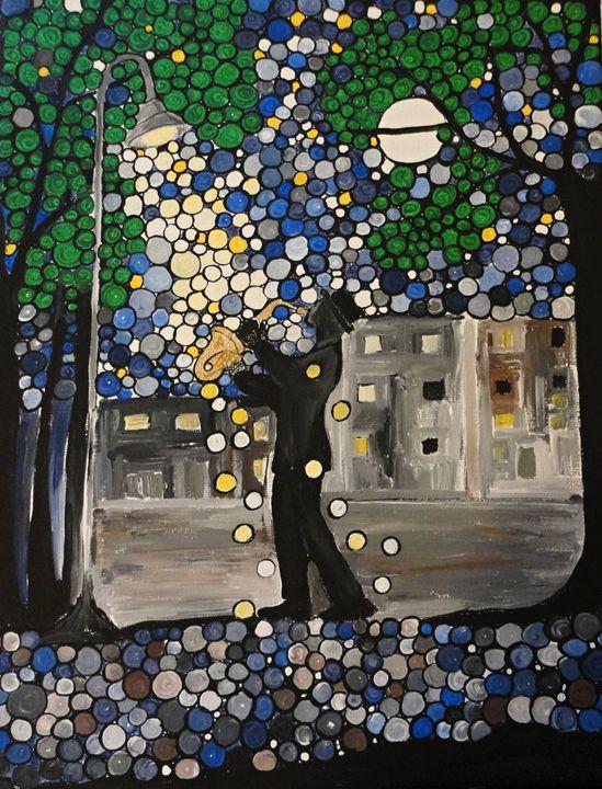 Street lamp Serenade - Her painted canvas