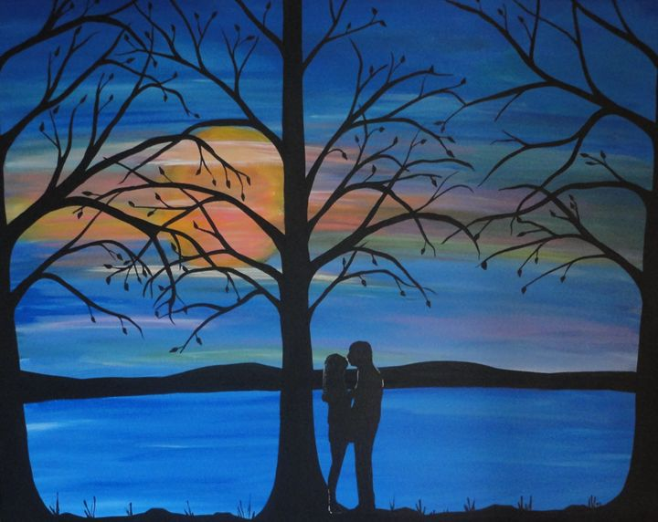 First Love, romantic painting - Her painted canvas