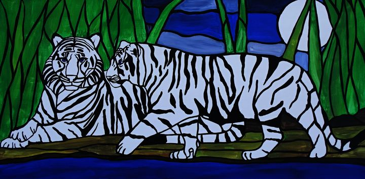 White tiger painting - Her painted canvas