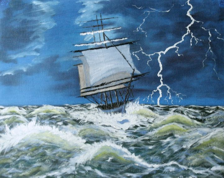 Tall ship in storm - DML Studio