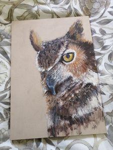 Owl Acrylic Painting, Original Brown