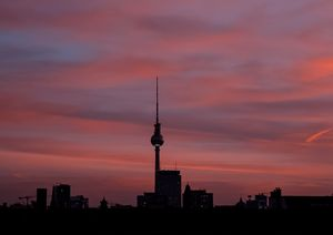Berlin tv tower on sunset background