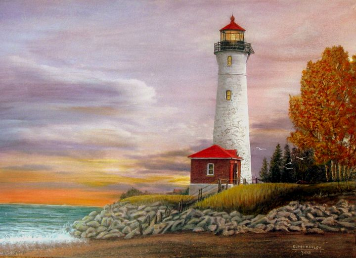 Crisp Point Lighthouse--Michigan - wildlife in watercolor