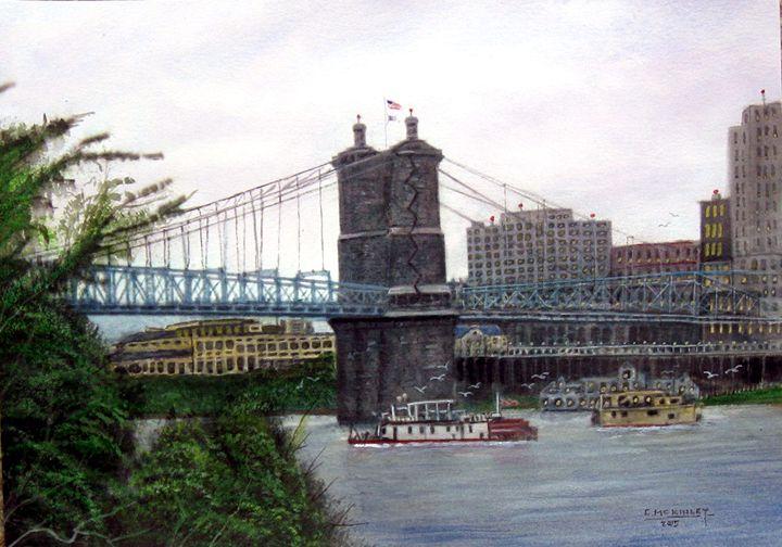 Roebling Bridge--Cin. Ohio - wildlife in watercolor