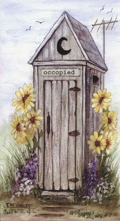 outhouse with TV - wildlife in watercolor
