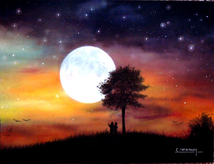 Moon Glow - wildlife in watercolor