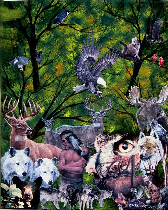 North American Wildlife collage - wildlife in watercolor - Paintings