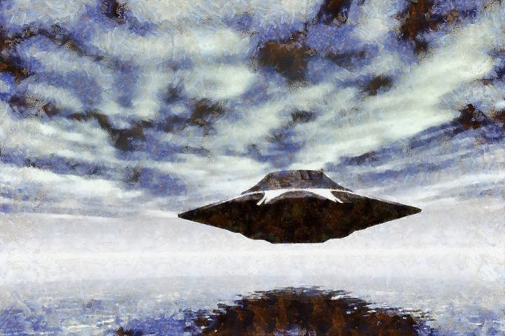 UFO Over Water by RT - Esoterica Art Agency