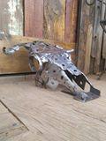 Steel cow sculpture