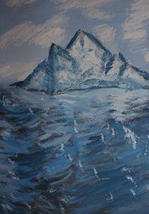 iceberg in wavy waters