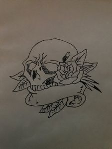Skull and rose.