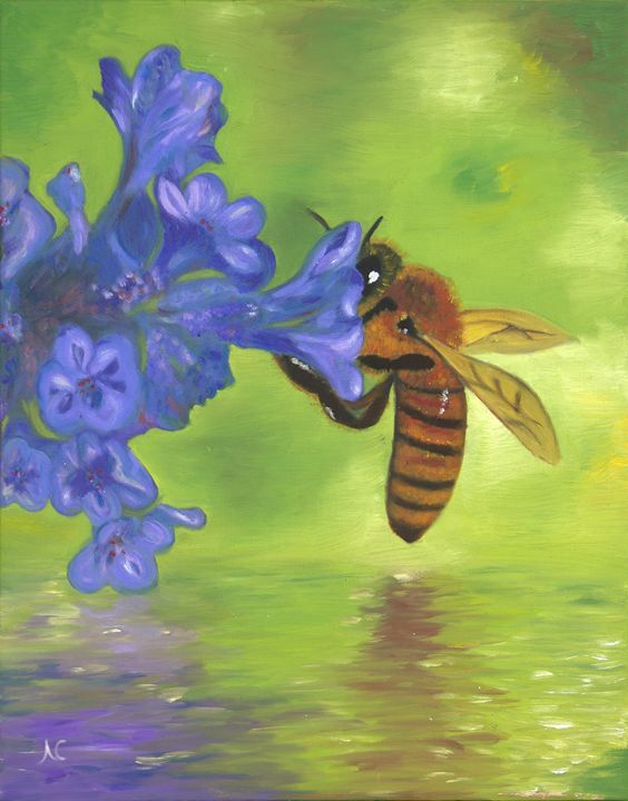 Nectar of Life - Honey Bee - Fine Art by Nesli / Neslihan Ergul Colley