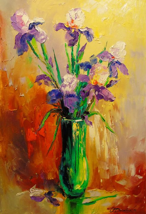 Bouquet of irises in a vase - Olha Darchuk