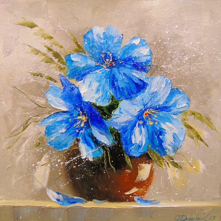 Blue flowers, - Olha Darchuk
