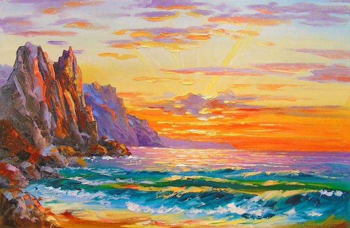 Sunset on the rocky shore - Olha Darchuk