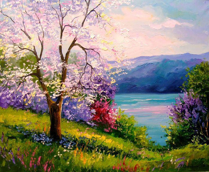 Blooming Apple tree on the river - Olha Darchuk