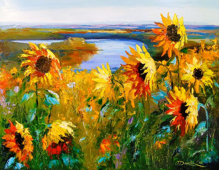 Field sunflowers by the river - Olha Darchuk