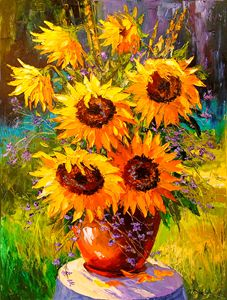 Bouquet of sunflowers in nature