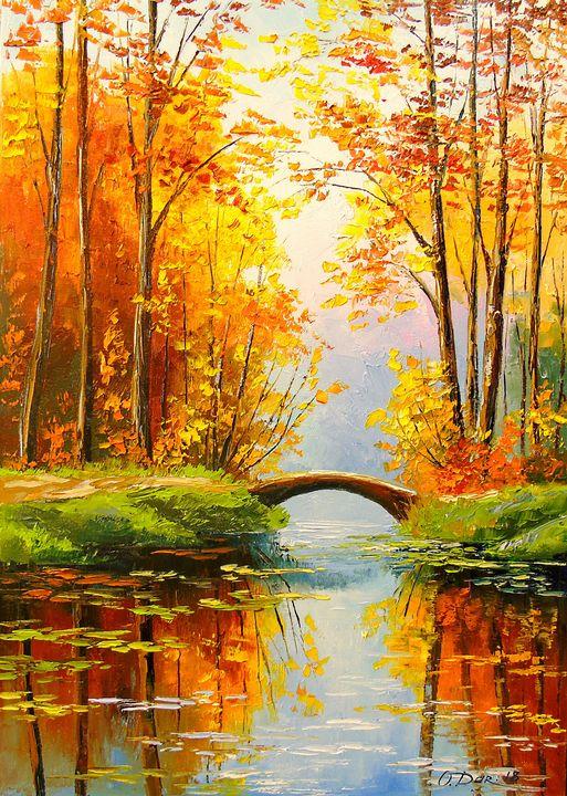 Bridge in the autumn forest - Olha Darchuk