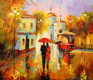 Autumn rain in the city of love