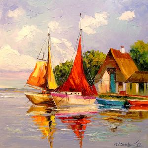 Sailboats near the shore
