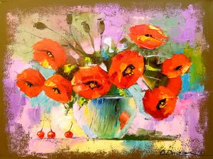 A bouquet of poppies in a vase