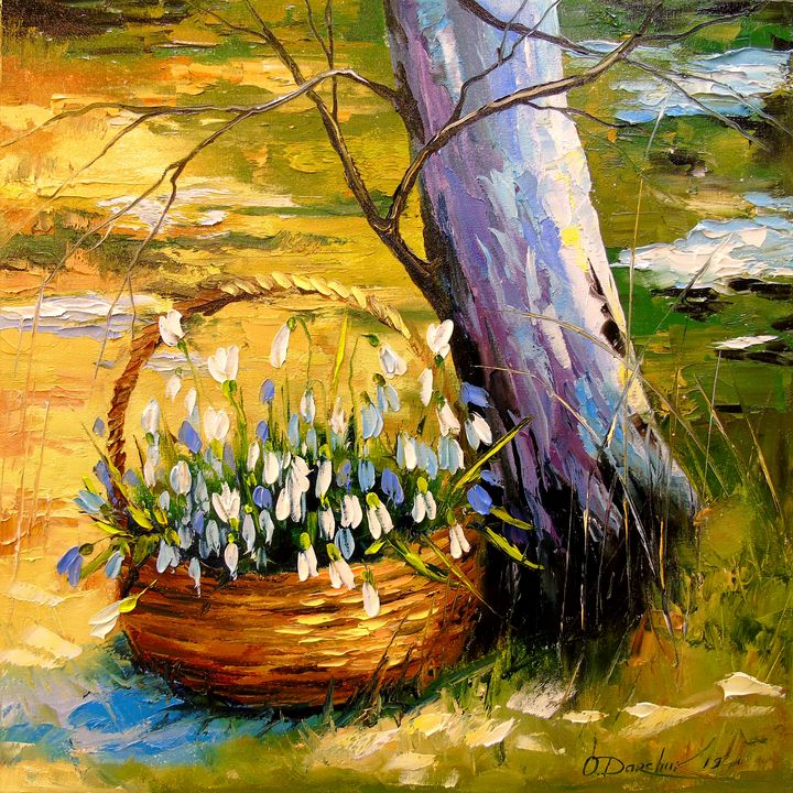 The basket with snowdrops - Olha Darchuk