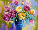 Peonies,flowers,art,painting,bouque