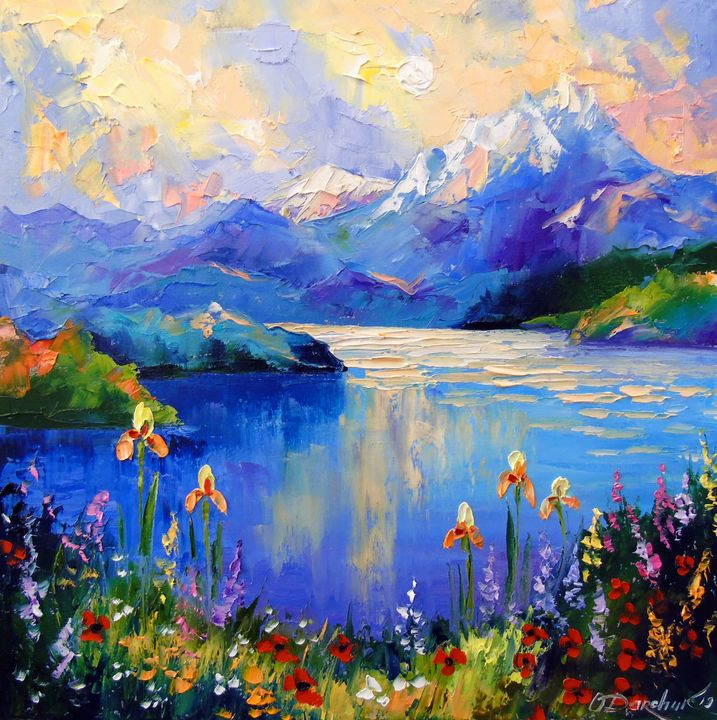 Flowers on the shore of a mountain l - Olha Darchuk