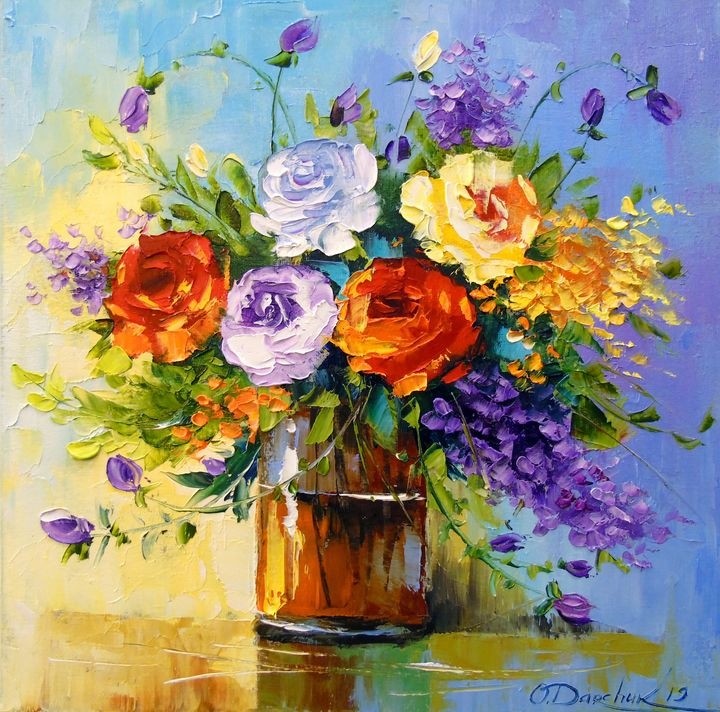 Bouquet of roses and meadow flowers - Olha Darchuk