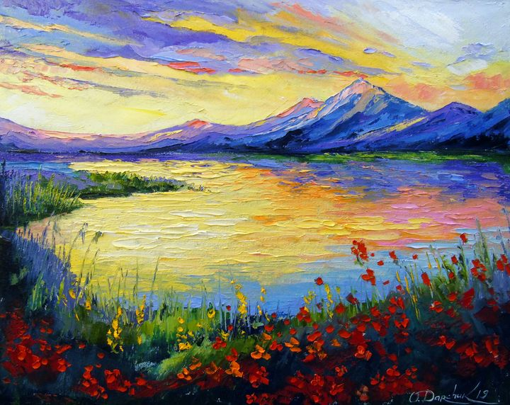 Poppies on the lake by the mountains - Olha Darchuk