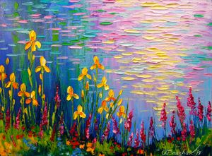 Flowers by the pond