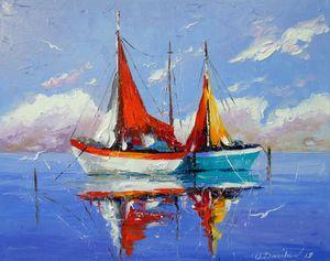 Sailboats anchored