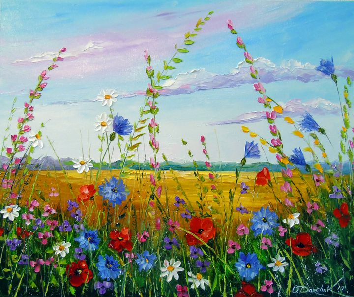 Field in summer flowers - Olha Darchuk
