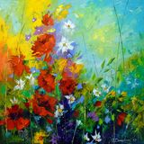 Abstract art, painting,flowers art,