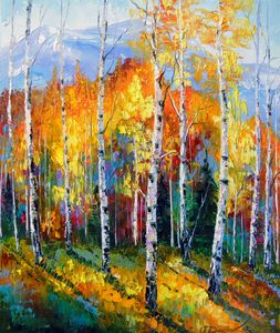 Autumn birches on the edge