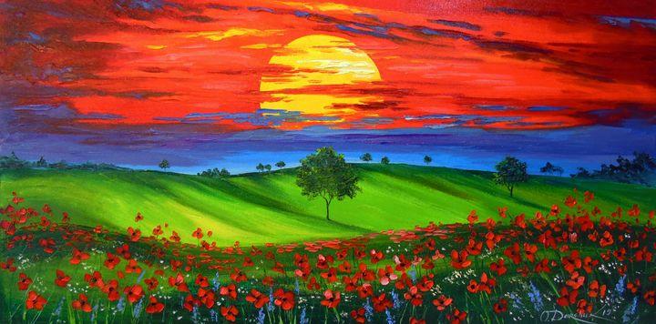 Sunset over poppy field - Olha Darchuk