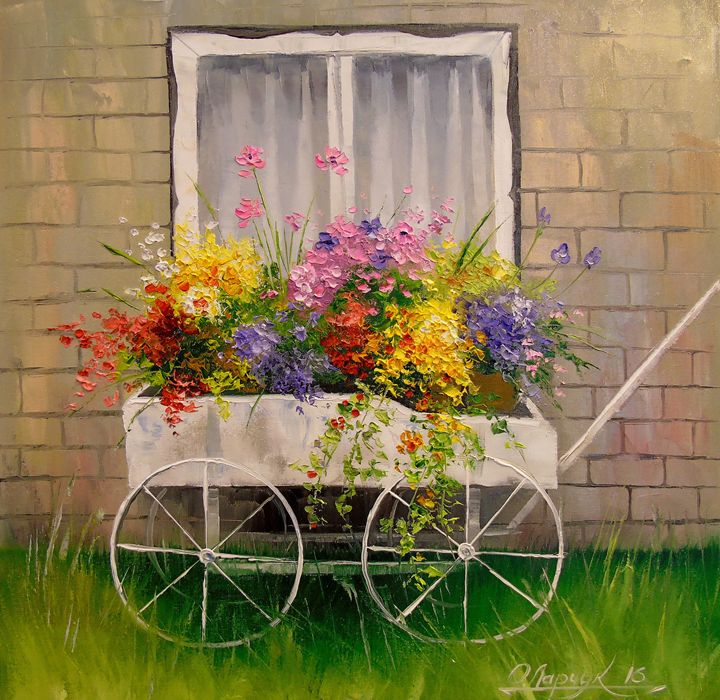 Old wagon with flowers - Olha Darchuk