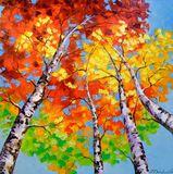Birch art, birch painting, tree birc