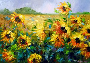 Wind and sunflowers