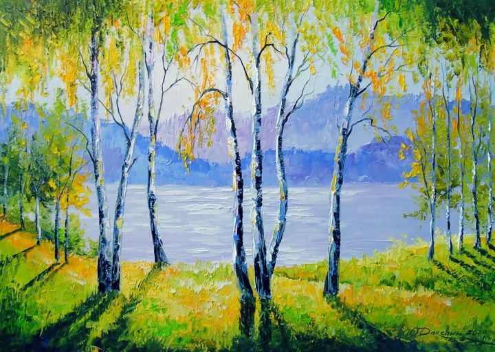 Birch Trees By The River Olha Darchuk Paintings Prints Landscapes Nature Lakes Ponds Artpal