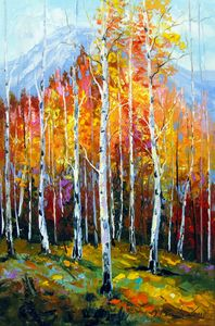 Birches by the mountains