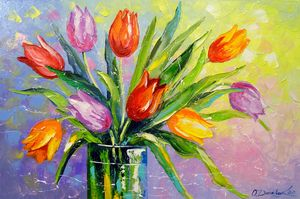 Bouquet of multi-colored tulips