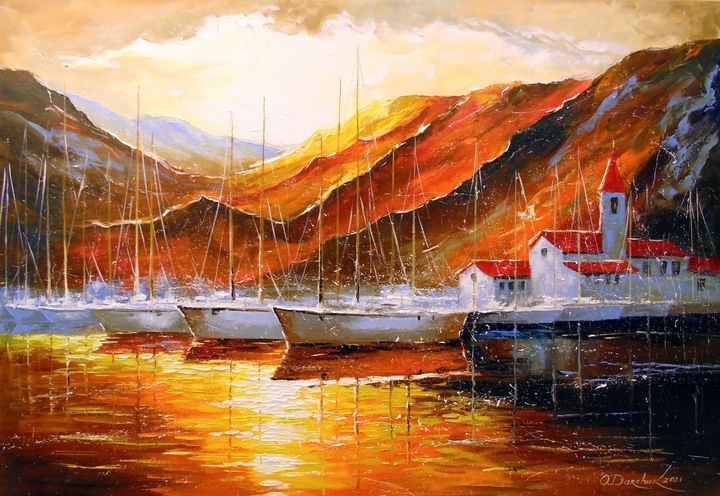 Yachts in the mountain harbor - Olha Darchuk