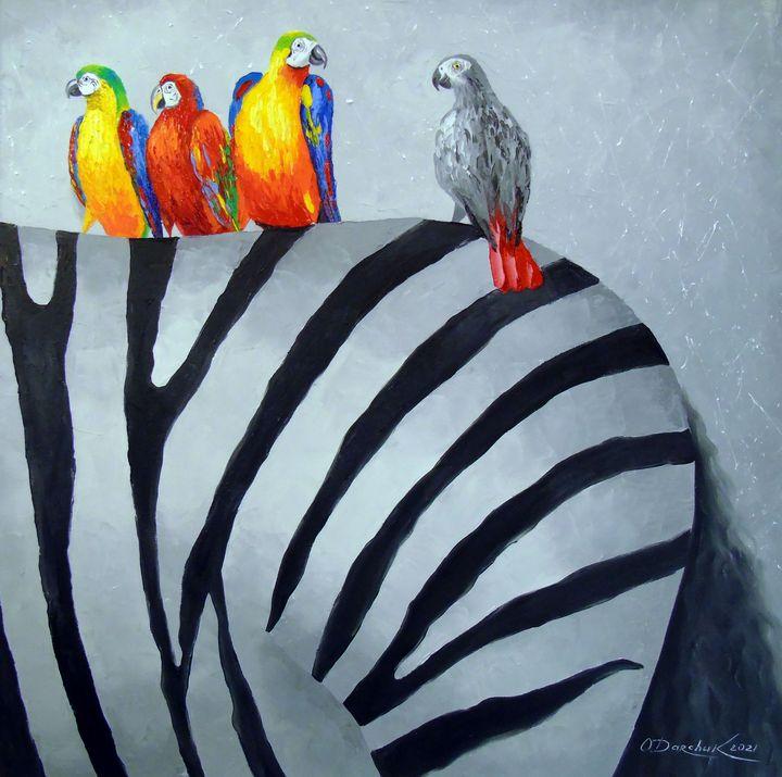 Parrots on zebra - Olha Darchuk