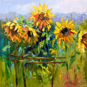 Sunflowers and wind