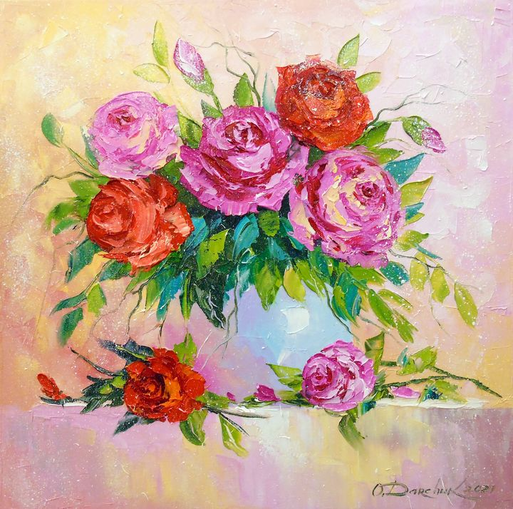 Bouquet of roses in a vase - Olha Darchuk
