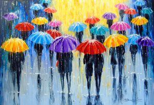Rain in colorful umbrellas
